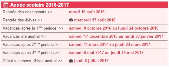 vacances scolaires 2016 2017